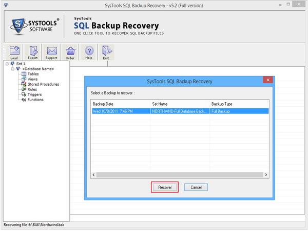 Recover SQL backup file